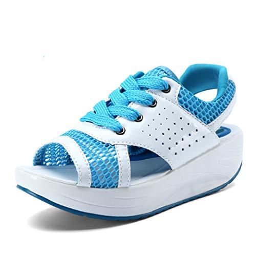 JOYBI Women Platform Walking Sandals Outdoor Breathable Mesh Summer Comfort Lace Up...