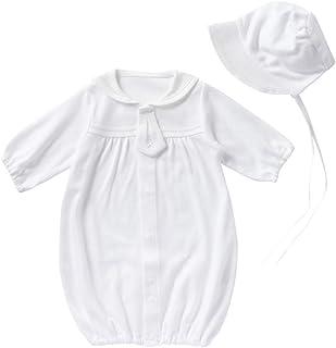 cremé de coco セーラーカラー 低出生体重児 ミニサイズ セレモニー ドレス [ツーウェイオール/帽子] 赤ちゃん ベビー 産後すぐ使える 綿100% 日本製 40-50cm (オフホワイト)