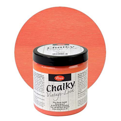 Viva Decor® Chalky Vintage-Look (250 ml, Koralle) dekorative Lasur - Vintage Kreidefarbe für Shabby Chic - Chalk Paint für Innen und Außen - Made in Germany