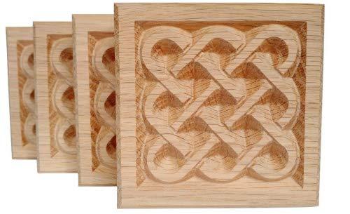 Set of 4:Carved Basketweave Rosette Blocks, Made in USA (2.5'x2.5' RED Oak)
