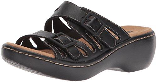 Clarks Women's Delana Liri Platform, Black Leather, 6 Medium US