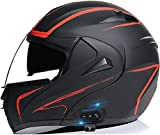 XLYYHZ Casco Modular abatible para Motocicleta Integrado con Bluetooth, Casco de Motocicleta Casco Protector para Motocicleta con Doble Visera Casco Integral Aprobado por Dot/ECE para Hombres, mu