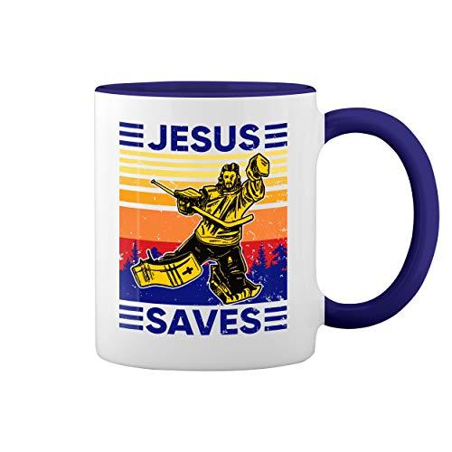 Vintage Retro Jesus Saves Hockey Lover Blanca taza de caf con el borde azul y la manija