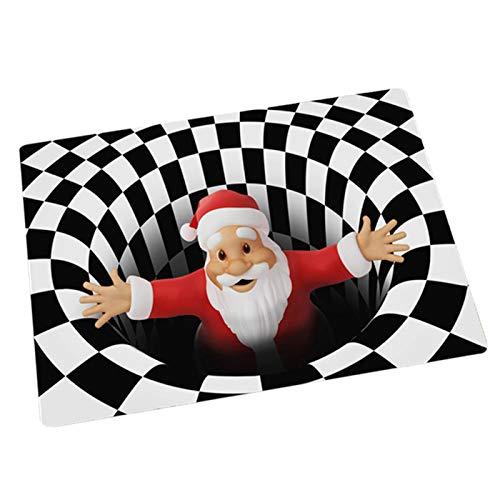 QKFON Alfombra de Navidad 3D Vortex, para interiores y exteriores, decoración de Navidad 3D con ilusión de Santa Vortex