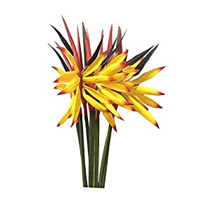 Medium Bird of Paradise 23 Inch,Artificial Flowers Outdoor UV Resistant No Fade Fake Plastic Plants,Flower Stem 5 mm,Artificial Flower Plants Small Flower Arrangement for Home Office 8 Pcs (Yellow)