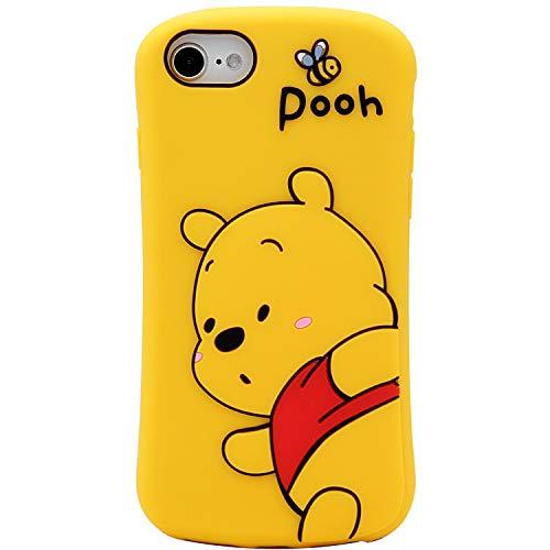 MC Fashion iPhone SE 2020 Case, Cute 3D Cartoon Bee Bear Winnie The Pooh Fun Case, Full-Body Protective Soft Silicone…