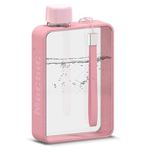Botella de agua plana portátil – Botella de agua delgada, reutilizable, sin BPA, sin fugas, botella de agua A5, plástico Tritan, deportes, camping, gimnasio, al aire libre, 380 ml