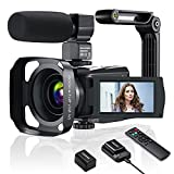 Videocamera 4K WiFi, Camcorder UHD 48MP 60FPS per Registrare Video Streaming, IR Visione Notturna, 3.0' IPS Touch Screen, 16X Zoom, con Microfono, Stabilizzatore, Paraluce, Telecomando, Caricabatterie