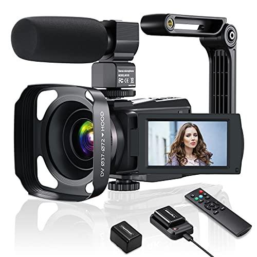 Videokamera Camcorder 4K, 48MP WiFi Vlogging Kamera für YouTube 16X Digitalzoom IR Nachtsicht, 3,0 Zoll IPS Touchscreen mit Mikrofon, Akkuladegerät und 2 Batterien,Handstabilisator