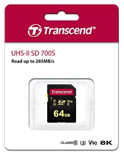 TranscendSDカード64GBUHS-IIU3ビデオクラスV90対応(最大読出し速度285MB/s,最大書込速度180MB/s)4K動画撮影TS64GSDC700S