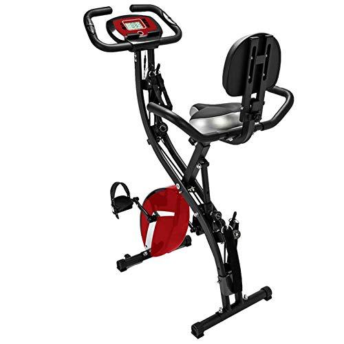 Bicicleta estática plegable 3 en 1, Bicicleta fitness magnética con 8 niveles resistencia, Sistema cuerda integrado para interior Vertical / Semi-reclinado / Ejercitador reclinado-Negro y rojo 78x41x1