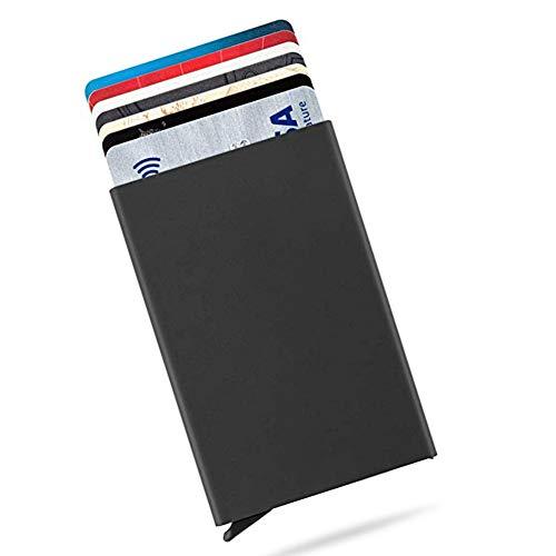 Tarjeteros para Tarjetas de Crédito Cartera de Aluminio Ultradelgado Bloqueo RFID Automático Pop Up, Capacidad 4-6 Hojas,Negro