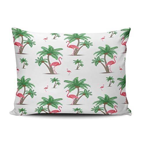 SUN DANCE Funda de cojín para decoración de dormitorio, diseño de flamencos rosas y hojas de palma, funda de cojín con estampado de un lado queen, 50 x 76 cm