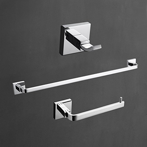 LightInTheBox Contemporary Solid Brass Bathroom 3 PCs Set Wall Mount Chrome Finish Towel Robe Hook/Toilet Paper Holders/Towel Bar Sets Lavatory Shower Furniture (Silver)
