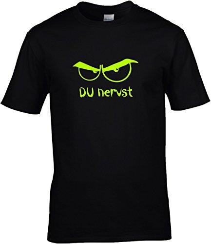 Fun Shirt Herren Sprüche DU NERVST mit bösem Blick, T-Shirt, Grösse M, schwarz