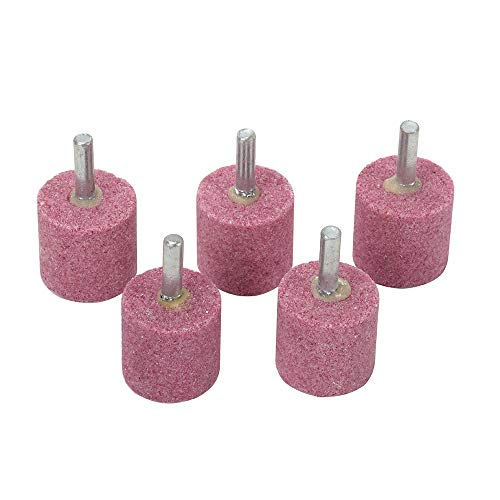 WenFo 5Pc Red 1/4' ShankCorundum Grinding HeadCylindrical Shaped Grinding Wheel Abrasive Mounted StoneRotary Tools for Deburring Polishing and other Materials - Head: 30mm