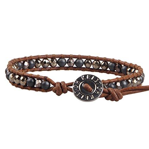 KELITCH Pyrit Perlen Braun Leder Armband Damen Armbänder