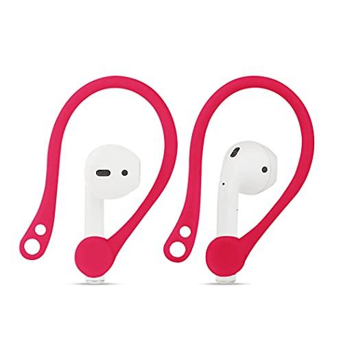 Amial Europe - Ganci Auricolari EarHooks Compatibili con AirPods 1 & 2 Headset Ear Hooks in Silicone [Supporto Orecchie Attività Sportive] [Extra Qualità] (Rosso)