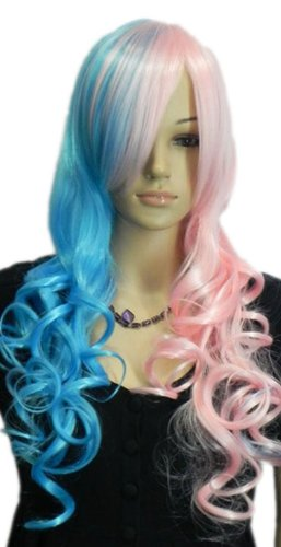 Qiyun Lolita Half Pink Bleu Mixte Longue Ondule Boucle Cheveux Complete Perruque Cosplay