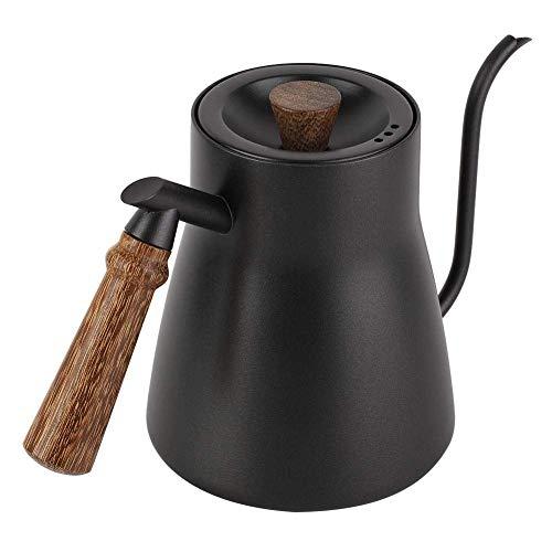 OH Gießen Sie Über Kaffee Kessel 850Ml Edelstahl-Kaffeekocher Gooseneck Mit Holzgriff Kaffeekocher Und Tee-Kessel Für Haus (Mit Thermometern) Sicherheit/Without Thermometer