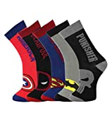 Jintong - 5 Paar Harajuku Socken, Erwachsene Superhero Socken Cosplay Superman Batman Captain America Punisher Deadpool Skate lange Socken