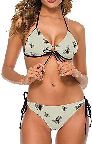Conjunto de Bikini Halter Ajustable de Dos Piezas para Mujer, Traje de baño, Trajes de baño, Abejas en Crema, S