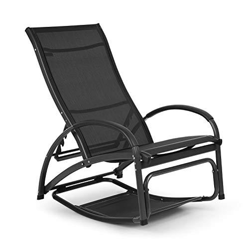 blumfeldt Beverlywood Sonnenliege Schaukelstuhl (Gestell aus Aluminium, 4-Fach verstellbare Rückenlehne, DualComfort, Material: 70% PVC und 30% Polyester Comfort Mesh, Edelstahlschrauben) Graphitgrau