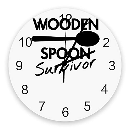 12 Inch Silent Round Wooden Wall Clock Wooden Spoon Survivor Wall Clock, Non Ticking Battery Operated Quartz Home Decor Wall Clocks for Living Room/Kitchen/Office