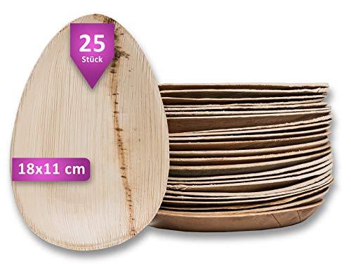 Waipur Bio Palmblattteller - 25 Teller Tropfen 18 cm - Premium Einweggeschirr kompostierbar - Umweltfreundliches Partygeschirr - Palmblatt Geschirr