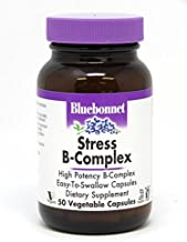 Bluebonnet Nutrition Stress B Complex Vegetable Capsules, Vitamin B6, B12, Biotin, Folate, Stress Relief, Vegan, Vegetarian, Gluten Free, Soy Free, Milk Free, Kosher, 50 Vegetable Capsules