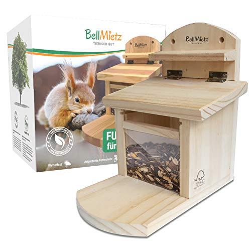 BellMietz® geliebtes Eichhörnchen Futterhaus [extra sicher & stabil] | Eichhörnchenhaus mit innovativem Belüftungssystem für trockenes Futter | Erprobtes Design Futterhaus für Eichhörnchen