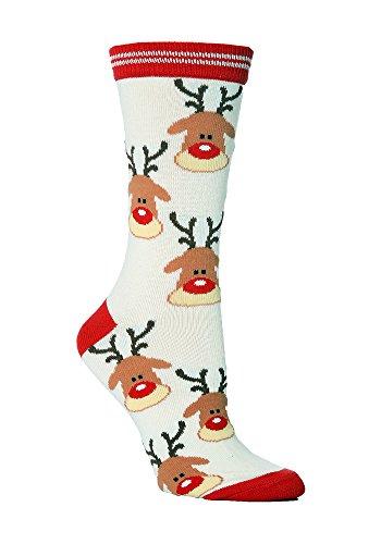 sock snob 1 Paar Baumwollanteil Weihnachtssocken in sechs farben (37-42 eur, Reindeer)