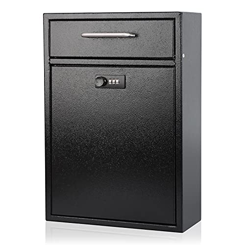 KYODOLED Steel Combination Lock Mail Boxes Outdoor,Locking Wall Mount Mailbox,Security Key Drop Box,Collection Boxes,16.2H x 11.22L x 4.72W Inches,Black X Large