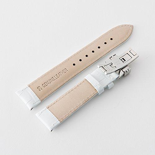 『【タッチ・ザ・スカイ】Touch The Sky 腕時計 ベルト 本革 クロコダイル型押し ベルト白×ステッチ同色/18mm』の2枚目の画像