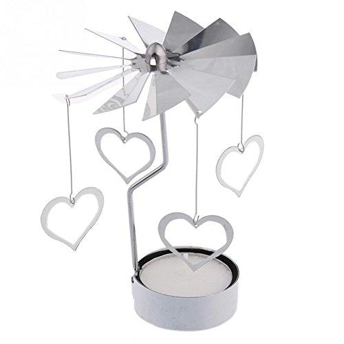 Creativo Spinning Carrusel Candelabro Mostrando Regalo Creativo Romántico Corazón Patrón Tealight Candelabro Decoraciones
