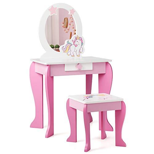 Giantex - Set Specchiera Giocattolo Toeletta per Bambini con Sgabello Specchio e Cassetti in Legno, Tavolo da Trucco Cosmetici Giocattolo per Bambine, Rosa 89x49,5x35,5cm
