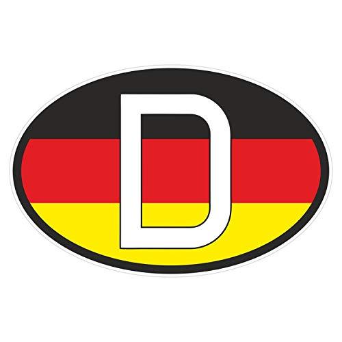 Sticker Deutschland D-Zeichen mit Flagge Aufkleber Länderkennzeichen D Symbol schwarz rot gold weiß 14 x 10 cm Selbstklebend KFZ Auto Scheibe Anhänger LKW Boot UV Wetterfest für außen und innen