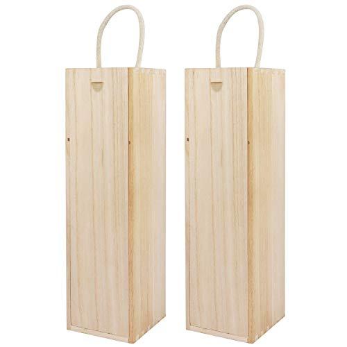 BELLE VOUS Weinkisten Holz (2 Pack) - 34.8 x 9.6 x 9.6cm Holzkiste Wein Geschenkbox Wein Holzkiste mit Seilgriff - Perfekt für Geburtstage, Einweihungsparty, Hochzeit, Deko Holzkisten Wein