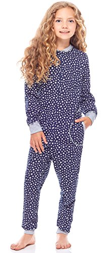 Merry Style Pijama Entero 1 Pieza Vestido de Casa 100% Algodón Niña MS10-186 (Marino Estrellas Melange, 110-116)