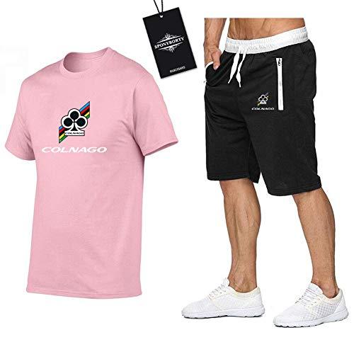 Jasmin Busse Hombres Y Mujer Camiseta Bermudas Chandal Conjunto por Col.N_Age Dos Piezas Corto Manga Tee Pantalones Ropa Deportiva Y/Rosado/XXL