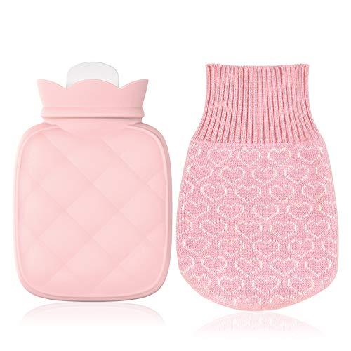 Wärmflasche mit Weichem Bezug Wärmeflasche Bettflasche Wärmekissen Sicher und langlebig Wärmflasche mit Strickbezug von Wärme und Komfort Schnelle Schmerzlinderung für Erwachsene Eltern Kinder (Pink2)
