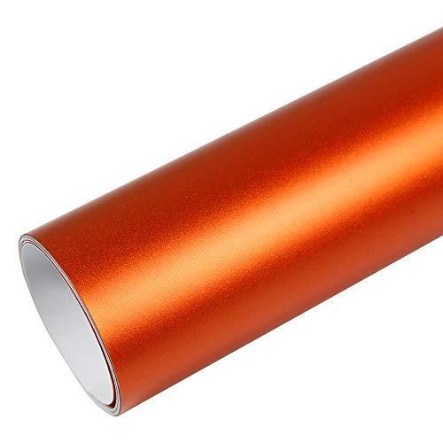 Rapid Teck® 15,79€/m² Premium – MATT Chrom Orange 50cm x 1,52m Auto Folie Blasenfrei mit Luftkanälen für Auto Folierung und 3D bekleben in Matt Glanz und Carbon Autofolie