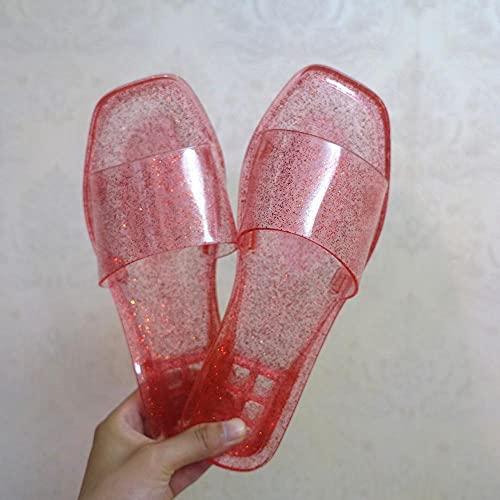 ypyrhh Sandalias Moda Casual,Zapatos de Cristal Cuadrados de Moda,Frutas Interiores y Sandalias al Aire Libre.-Rojo 1_40,Zapatillas de Moda de Verano