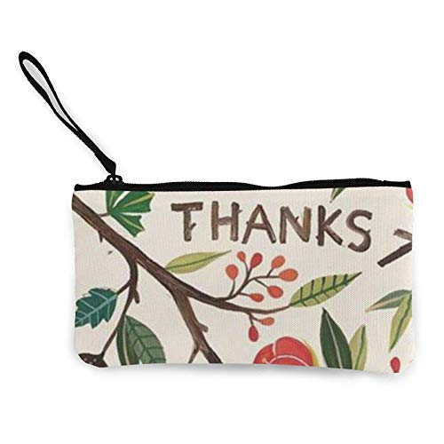 XCNGG Geldbörsen Shell Aufbewahrungstasche Happy List Thanksgiving Canvas Coin Purse with Zipper Coin Wallet Multi-Function Small Purse Cosmetic Bags for Women Men