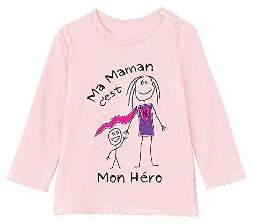 Green Turtle T-Shirts Ma Maman C'est Mon hèro - Fête des mères T-Shirt Bébé Unisex Manches Longues 6-12M 66/76cm Rose Pale