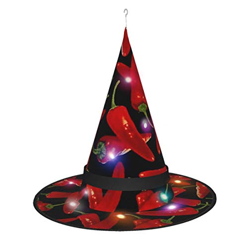 Chili Peppers Adults Kids Glowing Witch Hats,Sharp Pointed Decorative Hat,String Lights Battery Operated for Halloween Decoration Black