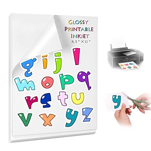 Bedruckbares Vinyl-Sticker-Papier, weiß, glänzend, wasserfest, 15 Blatt selbstklebendes Papier für Tintenstrahldrucker