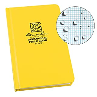 """Rite In The Rain Weatherproof Hard Cover Notebook, 4 3/4"""" x 7 1/2"""", Yellow Cover, Geological Pattern (No. 540F) (B0011DGJSC) 