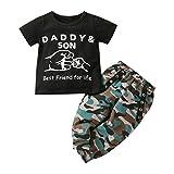 Baby Boy Ropa Camuflaje Recién Nacidos Trajes de Manga Corta Daddy Son Carta Impresa Camiseta Superior y Pantalones Conjuntos 0-3 años