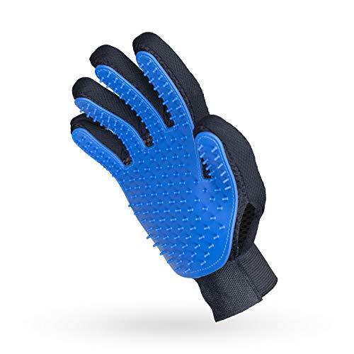 pretty petZ® Fellpflege-Handschuh | Einfache Entfernung lockerer Tierhaare | Für Hund & Katze in Profi-Tiersalon-Qualität (Blau)